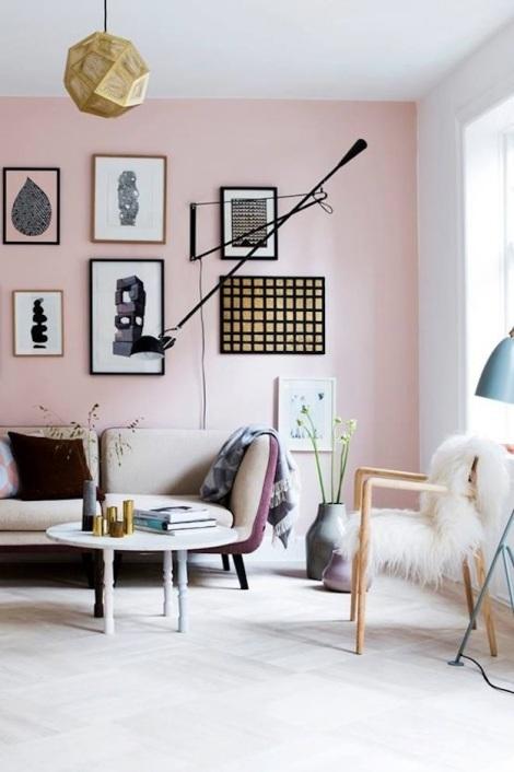 Blush pink wall in a modern Scandinavian interior