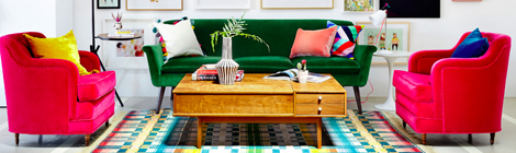 green velvet sofa with hot pink velvet chairs