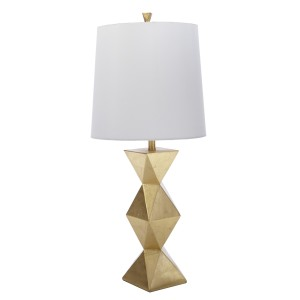 Gold geometric tower table lamp