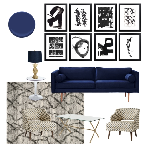 a collage of lower-priced furnishings that captures the look of the inspirational interior