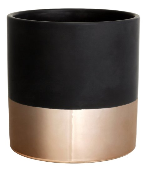 h&m home black and copper ceramic pot