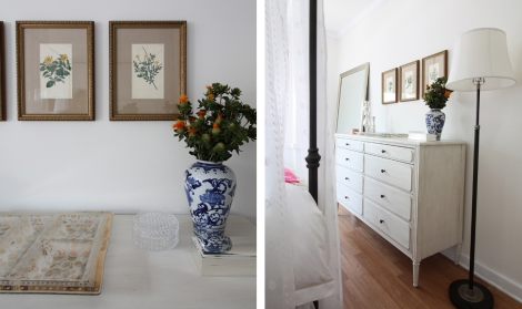French-inspired whitewashed dresser with Chinese porcelain vase and vintage prints.