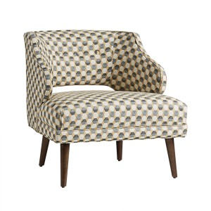 Dwell Studio Mallory chair with geometric fabric and tapered legs