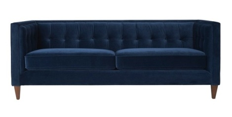 Jennifer Taylor navy blue velvet sofa