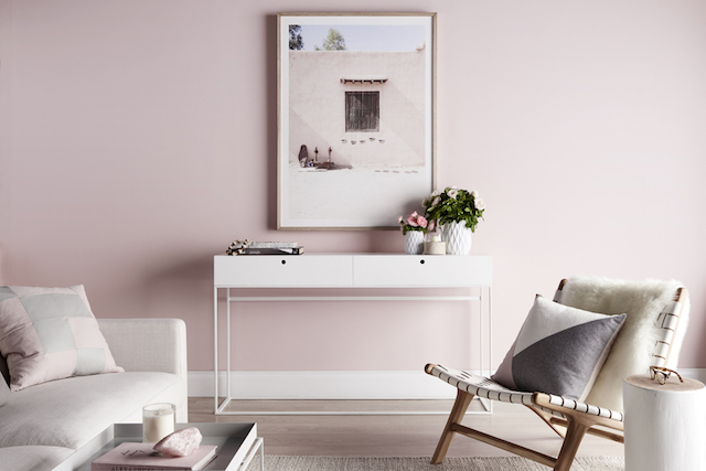 Modern Pink And White Living Room