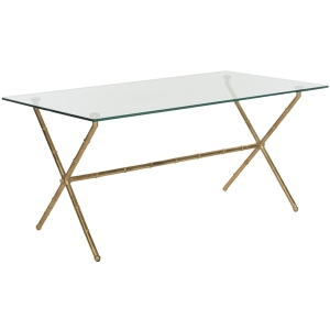 Safavieh Brogen coffee table with gold legs and glass top