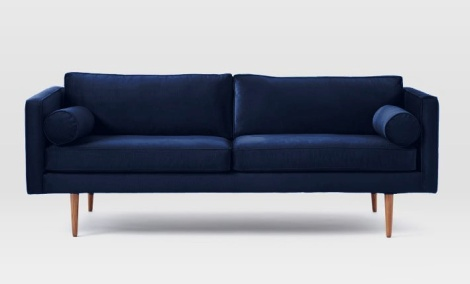 West Elm Mid Century Sofa with ink blue velvet